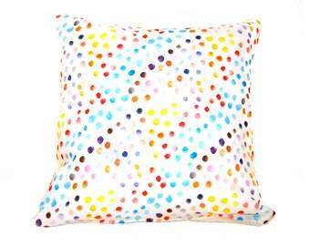 SALE Watercolour Dots Pillow, Bright Cushion Cover, Decorative Pillow, Rainbow Colours, Throw Pillow