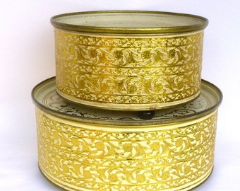 PAIR of Vintage GUILDCRAFT TINS with lids