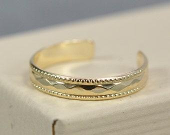 Gold Toe Ring, Aztec Boho Chic Jewelry, 14K Gold Fill, Better Quality, Kristin Noel Designs