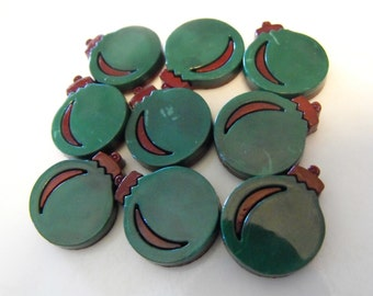 """7 Forest Green Ornament Flat Back Buttons Size 11/16"""""""