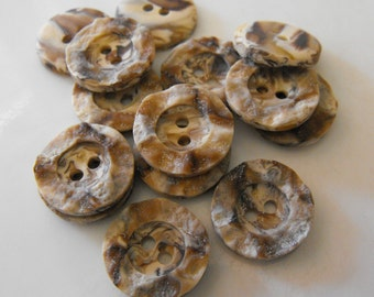 """14 Brown Carved Wood Small Round Buttons Size 5/8"""""""