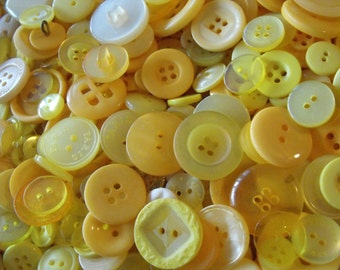 Yellow Buttons, 100 Bulk Assorted Round Multi Size Crafting Sewing Buttons