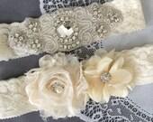 Wedding Garter Bridal Garter Set Ivory Lace Garter Belt Lace Garter Set Rhinestone Crystal Center Garter Beach Wedding GR115LX