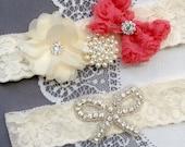 Wedding Garter Bridal Garter Coral Red Ivory Lace Garter Set Rhinestone Garter Crystal Pearl Garter Beach Wedding GR162LX