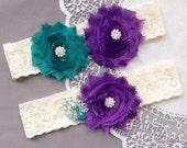 Wedding Garter Set Bridal Garter Set Lace Garter Set Rhinestone Garter Set Crystal Peacock Garter Dark Purple Turquoise GR182LX