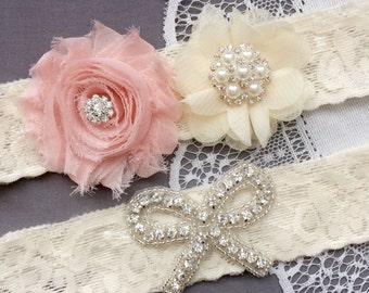 Wedding Garter Bridal Garter Peach Pink Garter Set Lace Garter Set Ribbon Bow Rhinestone Crystal Pearl Garter Princess GR177LX