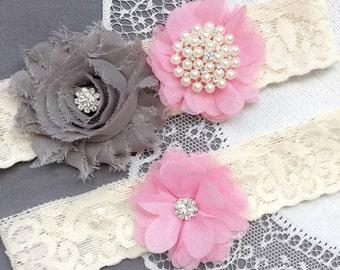 Wedding Garter Belt Set Bridal Garter Set Ivory Lace Garter Belt Candy Pink Garter Set Rhinestone Crystal Garter GR189LX