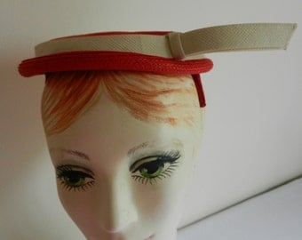 Vintage Red with Cream Pique Trim Band 1950s Hat from Carson Pirie Scott 1950s July 4th &/or Blackhawks Celebration
