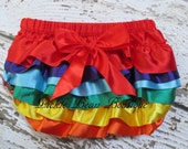 Rainbow Bloomers - Baby Diaper Covers - Baby Bloomers - Rainbow Birthday Outfit - Photo Prop - Rainbow Diaper Cover - Girls Ruffled Bloomers
