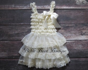 Country Flower Girl Dress - Lace Flower Girl Dresses - Ivory Baby Wedding Dress - Rustic Flower Girl Dress - Cowgirl Dress - Brown Gray Pink