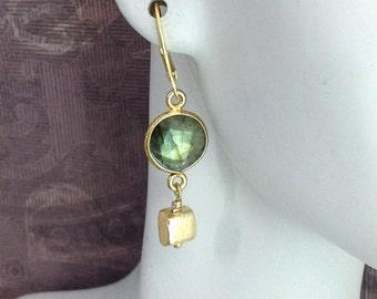 Labradorite earrings, green flash, bezel set, gold vermeil, gemstone earrings, everyday, gemstone jewelry,  mother's day