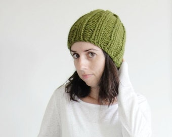 Chunky Knit Ribbed Hat in Cilantro / The Alberta Beanie