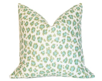 Conga Line Moss & Aqua Pillow Cover (Single-Sided) - Made-to-Order
