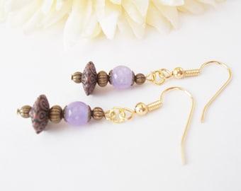 Bohemian Lavender Earrings, Lilac Drop Earrings, Boho Dangle Earrings, Quartz Earrings, Gypsy Earrings, Gift for Her, Stone Beaded Earrings