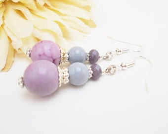 Lavender Earrings, Gift for Mother, Spring Wedding Jewelry Lilac Earrings, Bridesmaids Gift for Daughter, Boho Bridal Earrings Beaded Dangle
