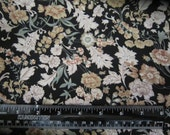Polyester Charmeuse Vintage Fabric Soft Floral on Black 4.33 Yards X 44 inches Wide Dressmaking Decorating