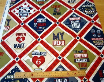 Homefront Girl Be Strong Be Brave Diamond patch premium cotton fabric from Quilting Treasures