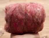Rosewood Needle Felting Wool, Wool Batting, Batts, Fleece, Wet Felting, Spinning, Dyed Felting Wool, Fiber Art Supplies, Dusty Rose, Pink