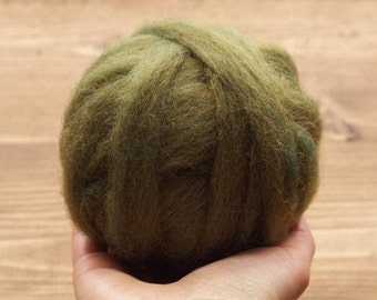 Wool Roving Supply in Olive Green for Needle Felting, Wet Felting, Weaving, Spinning, Fiber Arts Supplies