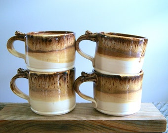 MADE TO ORDER....One 12 ounce Handmade Pottery Mug in White and Chocolate Mocha