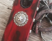 Large Rustic Red Bootjack with Concho