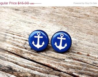 Anchor stud earrings- Navy blue anchor earrings- Nautical stud earrings- Nautical jewelry- Blue and white- Sailor- Sea- Ocean- Gift for her