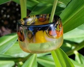 Golden Phoenix Handmade Resin Barrel Ring size 10.5 glows in the dark