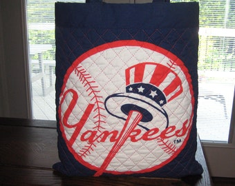 New York Yankees Tote Bag with Pinstripe Interior