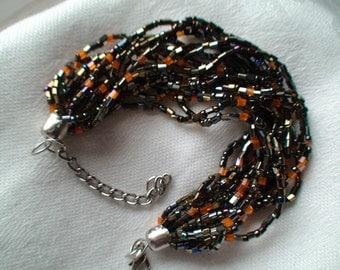 Vintage  Handmade Beaded Bracelet, Eight Strands