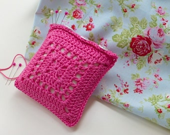Pincushion, pink crochet pincushion, fuchsia pin tidy, sewing room accessory, needlework gift, Free UK shipping, Mother's Day present
