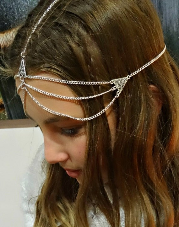 Triangle Headpiece Hair Jewelry Head Jewelry Boho Gypsy Festival Coachella Burning Man Head Chain Headpiece Headdress Chevron   Triny Silver