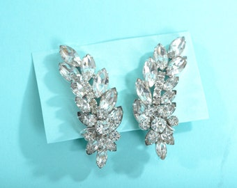 Vintage 1960s Juliana Rhinestone Earrings - Delizza and Elster - Bridal Wedding