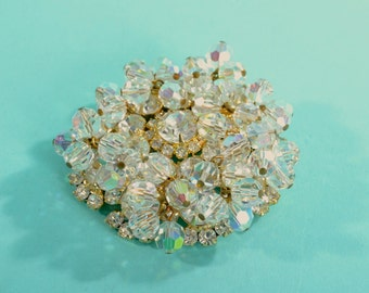 1960s Juliana Aurora Borealis Brooch - Rhinestones Crystals - Delizza and Elster Vintage Fashions