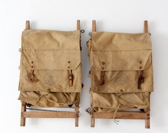 vintage Boy Scouts Yucca packs, pair of BSA backpacks, camp gear decor
