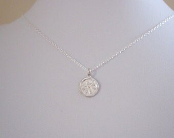 DAISY FLOWER 97% solid sterling silver coin charm necklace, delicate everyday necklace