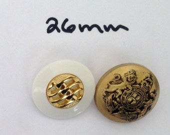 Lot of 12 Buttons for these two designsSelf Shank Pearl Gold and Gold Design 26 mm