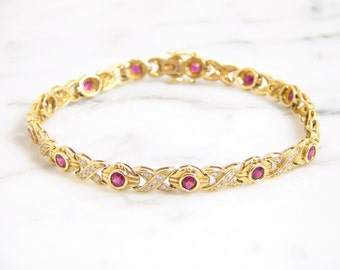 CLEARANCE PRICE - Vintage Genuine Ruby and Diamond 18K Yellow Gold Bracelet 7.5 Inch/ Estate Xoxo