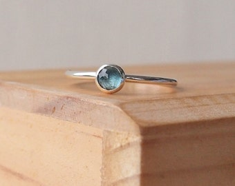 Blue Topaz Ring - London Blue Topaz Silver Ring - Teal Gemstone Ring in Sterling Silver - November Birthstone Ring