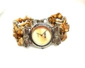 Vintage Cherokee Watch Southwest Native Picture Jasper Boho Working Womens Bows MOP 80s Tan Cream Red Silver
