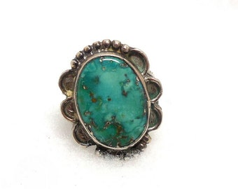 Ring Turquoise Silver Southwest Womens 6.5 Statement Native Etruscan Vintage Fashion Cocktails Party Great Gift