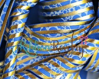 """NEW-Star Wars inspired C3po gold & royal blue 7/8"""" grosgrain ribbon- NEW"""