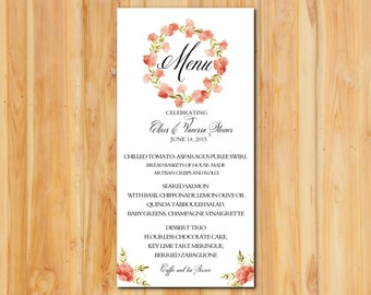 Floral Wreath Dinner Wedding Menu 50qty, Reception Menu, Personalized Wedding Table Setting Custom Designed