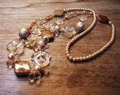 Vintage Lucite Pearl and Bead Necklace c.1980s