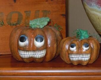 Pumpkin Jack-O-Lantern JOL Papier Mache Painted Set of 2