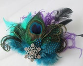 Peacock Feather Wedding Fascinator, Teal Blue Bridal Head Piece, Purple Feather Hair Piece, Masquerade Wedding, Dance Costume, Accessory