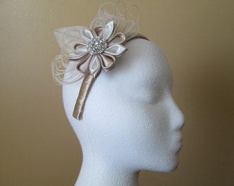 Champagne & Ivory Rustic Wedding Headband, Peacock Feather Bridal Headband w/ Kanzashi Flower, Nude / Beige / Cream