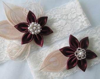 Marsala Wedding Garter Set, Wine Red Bridal Garters, Ivory Lace Garter, Champagne Peacock Garters, Rustic Valentine Bride
