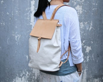 Artemis Leatherware Handmade Leather And Canvas Backpack