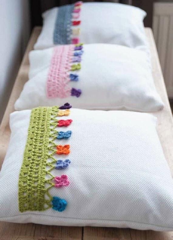 Crochet pillow edging pattern instant download - Cojines para bebes ...