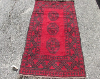 "Vintage Oriental Rug Made in Pakistan Ersari Qarkin Area Sized Red and Black 3' 3"" by 5' 10"""